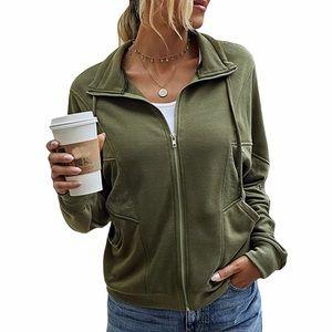 Olive Green Zip Front Sweatshirt
